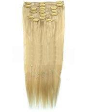 Clip-In-Extensions für komplette Haarverlängerung - hochwertiges Remy-Echthaar - 100 g - 40 cm - Hellblond #60