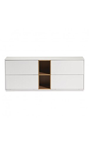 CAMINO A CASA - Buffet Design 4 Portes laqué Blanc et Bois White