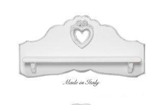 Mensola con ripiano in legno con cuore centrale disponibile in diverse rifiniture L'ARTE DI NACCHI 4954/SH