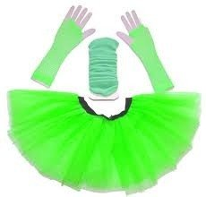 Low Cost Neon Green, Orange, Pink or Yellow Tutu Skirt with Leg Warmers and Fishnet Gloves - Size 8 to 16