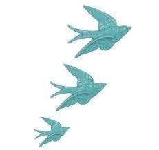 Wanddekoration Fliegende Schwalben, Keramik, Vintage-Stil, Weiß, 3 Stück Hellblau (Blaue Keramik-ente)