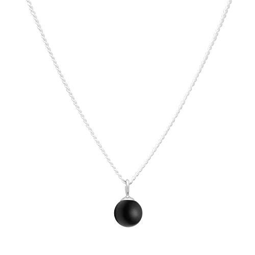 Louise Kragh Damen Halskette Silber Minipearl (Black): Mit rundem Perlen Anhänger fein und schmückend 925 Silber hochglänzend - NMIN0102BLAs
