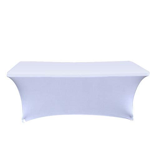 MIFXIN Einfach rechteckig Tischdecken 3Größen im europäischen Stil Premium Spandex Material Waschbar Stretch Tischhusse Küche Tische Hochzeit Tischdecken Party Bankett, 2Farben, weiß, 183x76x76CM