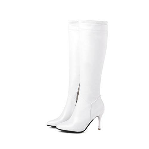 Plattform Spitze Knie Stiefel (FCXBQ Stiletto Hochhackige Hohe Stiefel, Spitze Seitliche ReißVerschluss-Plattform Anti-Rutsch-Knie Stiefel Bequeme Warme Damen Baumwolle Schuhe FüR Partys, Einkaufen, Kleidung Mit,White,39)