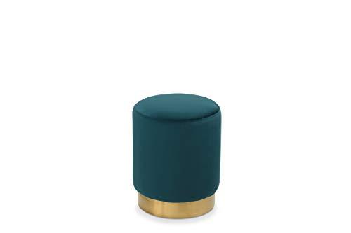 LANTERFANT Mark, Sitzpouf, Samt, Runde Form, Fußhocker, Hocker, Gepolstert, 3 stylischen Farben erhältlich, Grün, Gold