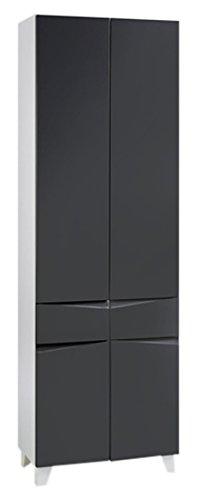 CAVADORE Doppelhochschrank SHARPCUT / hoher Badschrank mit gefräster Griffleiste / Front Anthrazit metallic / 4 Türen & 1 Schublade / Korpus Melamin weiß / Glasablage anthrazit / 60x183x33cm (BxHxT)