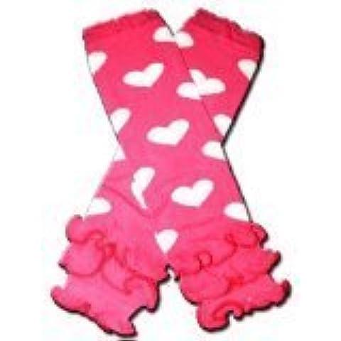 HOT PINK RUFFLES WITH WHITE HEARTS - Baby Leggings/Leggies/Leg Warmers - Little Girls & Boys & ONE SIZE by BubuBibi by BubuBibi