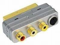2 Stück Scart Adapter Scartstecker auf 3x Cinchkupplung + 4 pol. Hosidenkupplung, Cinch/Hosiden, Ausgang Scart