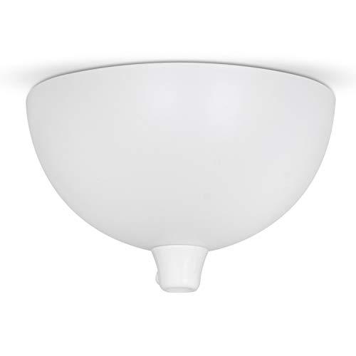Deckenbaldachin Weiß, Lampen Baldachin Metall Halbrund, inkl. Klemmnippel für Befestigung am Kabel (keine Bohrlöcher erforderlich)
