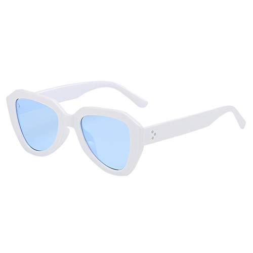 fazry Damen Herren unregelmäßige Form Sonnenbrille Vintage Style Brille(Weiß)