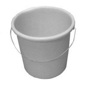 TEKO Kunststoff Haushalt Eimer mit Metall Halterung und Mess-, weiß, 30x 28,5x 27,5cm (Bulk Kunststoff-trinkbecher)