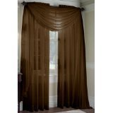 MONAGIFTS BROWN Chocolate COLOR Voile Window Panel Solid sheer valance curtains 95 LONG by MONAGIFTS -
