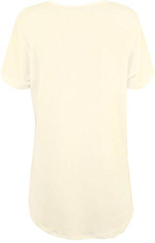 WearAll - Grande Taille plaine crêpe à manches courtes T-shirt de dames ourlet plongeant Haut - Hauts - Femmes - Grande Tailles 42 à 56 Crème