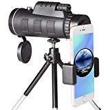 [2018 Aktualisiert] 40X60 Monokular Teleskop HD Monokular mit mobilem Adapter & Stativ