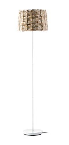 Els Banys Evel - Pie salón, pantalla mimbre decapado, pie en metal blanco