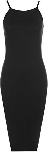 WearAll - Femmes sans Manches Lacets Plaine Élevé Cou Étendue Moulante Midi Robe - Robes - Femmes - Tailles 36-42