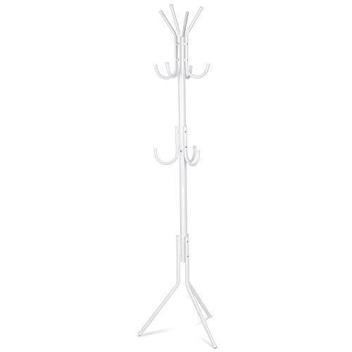 INTEY Garderobenständer Stabil Metall Kleiderständer Garderobe mit 11 Haken Höhe 173 cm, passt gut am Eingang, im Flur, Wohnzimmer, Schlafzimmer Büro etc.(weiß)