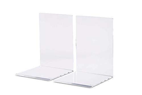 Maul Buchstützen,Hochwertiges Acryl, 10 x 10 x 13 cm, Glasklar, 2 Stück - Büro Stapeln Bücherregal