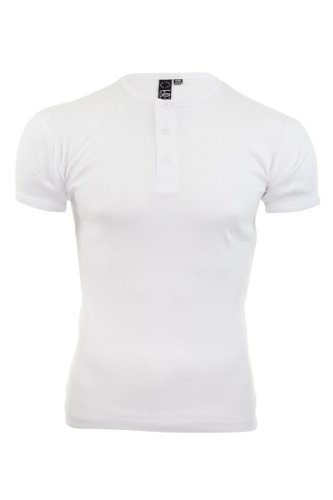 Soul Star - Rib T-shirt da uomo grande taglio aderente tinta unita Vater u.bsv T-Shirt Nonno (bianco)
