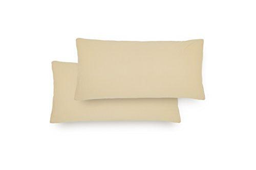 Lumaland Comfort Jersey Kissenbezug 2er Set aus 100 % Baumwolle mit Reißverschluss 40 x 80 cm Gold