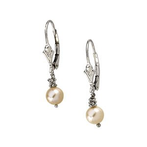 14ct White Gold Lever Back Earring With Pink Freshwater Cultured Pearl 5.5-6mm