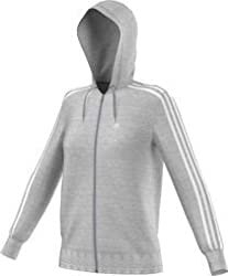 Adidas Damen Trainingsjacke Essentials 3-stripes Hooded Tracktop, Medium Grey Heatherwhite, S, Z31095