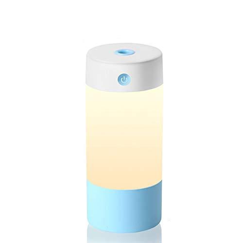 HFAN Mini humidificador de Aire con luz Nocturna, 250ML, Portátil, ultrasonidos, Puerto USB, silencioso para bebé de Dormitorio, Oficina, hogar, Auto, Azul, Mini 2.00watts