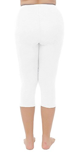 Nouveau Dames Plus Taille Corsaire Pantalons 3/4 leggings Collants Yoga Formation Gym Leggings 40-58 white