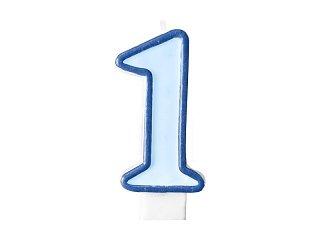 BUDILA Geburtstagskerzen Zahlen rosa oder blau (1 hellblau)