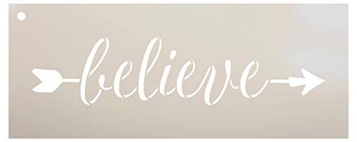 """Arrow Believe Schablone von StudioR12, wiederverwendbare Mylar-Schablone, zum Bemalen von Holzschildern - Paletten - Kissen - DIY Home & Faith Decor - Größe wählen 17\"""" x 7\"""""""