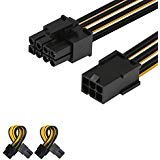 J&D - Adaptador de Cable de alimentación para Tarjeta gráfica de vídeo PCIe Express (PCIe, 6 Pines a 8 Pines, 10 cm), Color Negro Pack de 2