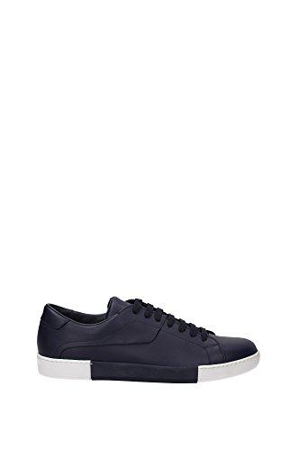 4E2962BLEUBIANCO Prada Sneakers Homme Cuir Bleu Bleu