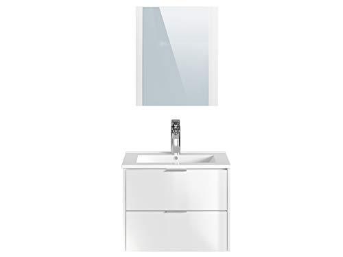 Marca Amazon -Movian Cher - Mueble de baño con espejo y lavabo, 61 x 46,5 x 49 cm, blanco