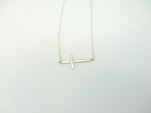 Small Sterling Silver Horizontal Cross Necklace, Petite