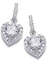 77fbba03b Sterling Silver Heart with Cubic Zirconia Centre Stone Stud Earrings (5274)