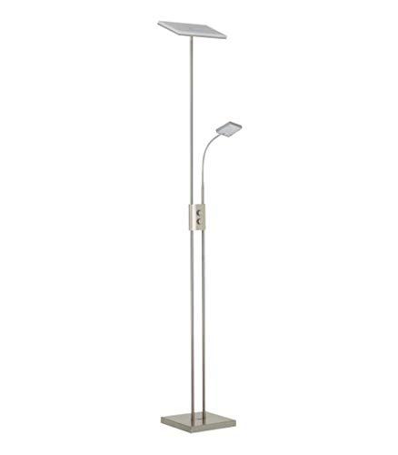 Briloner LED Stehleuchte, Stehlampe, Fluter 28W, 3000lm, Drehdimmer, stufenlos dimmbar, Lesearm Schalter AN/AUS, matt-nickel