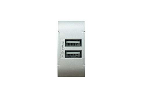 módulo USB Gris Compatible Living cargador 2enchufes USB doble toma tot821-Tipo 1unidades