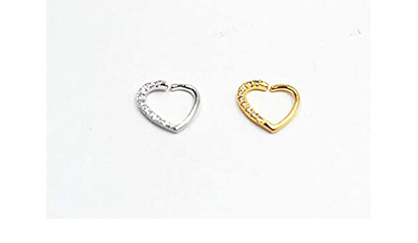 50pcs CZ Gems Nose Ring Piercing  Hoop Earring Helix Cartilage Tragus Daith NEW