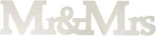 ffäre Mr. & Mrs. aus Holz Hochzeit Zeichen, weiß ()