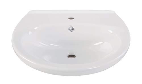 'aquaSu® Waschtisch Aveiro   60 cm   Weiß   Waschbecken   Waschplatz   Handwaschbecken   Bad   Badezimmer   Keramik   Gäste-WC