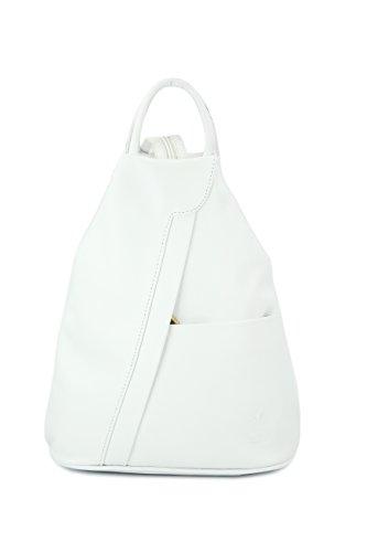 BELLI 'City Backpack' leichte ital. Leder Rucksack Handtasche - Farbauswahl - 29x32x11 cm (B x H x T) (Weiß)