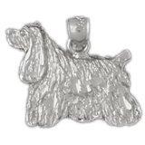 CleverEve 14K White Gold Pendant Cocker Spaniel Dog 1.9 Grams