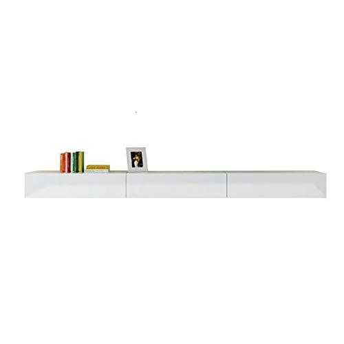 XINGPING-Shelf Schwimmdock Wand Wohnzimmer Schlafzimmer Massivholz-Multimedia Entertainment Center TV Schrank mit Schublade (Color : White, Size : L:120CM) -