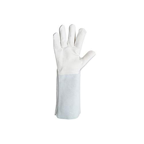 Singer Handschuh mit Hitzeschutz, Leder, Größe 10, Profi, Manschettenknöpfe, 20 cm, Größe 10, Handfläche mit Schwingspule, Rücken - Schwingspule