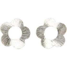 Blume, D: 20 mm, gebürstetes Silber, Sterlingsilber versilbert, 30 Stck.