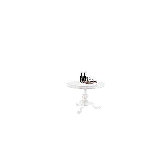 EsteaMobili estea Meubles – Table Blanc Mat Rond diam 100 – Rond Bois Massif laqué Blanc – comme Photos