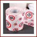 Scherzartikel Deko Spass Toilettenpapier zum 18.Geburtstag lustiges Geschenk mit Verkehrschild 18