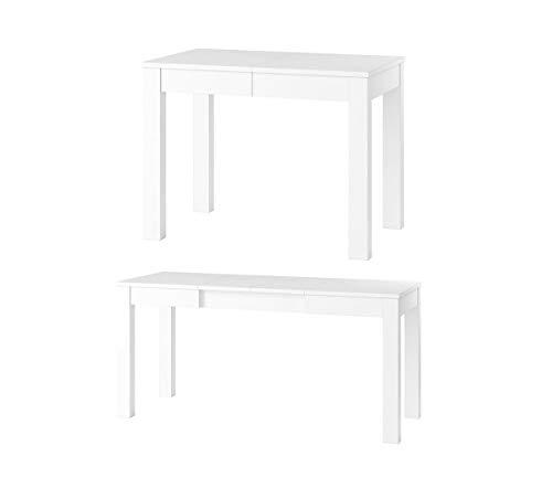 MPS Möbel groß praktisch Tisch Orion 2 100-160x60x76cm, ausziehbarer Tischplatte auf 160cm (Weiß Matt) -