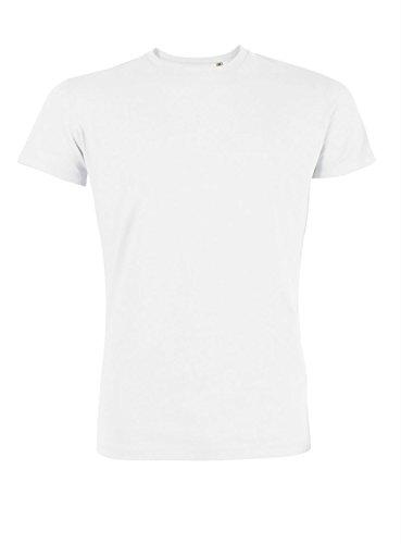 YTWOO Herren Rundhals Tshirt aus Bio-Baumwolle- in diversen Farben Schwarz und Weiß bis 2XL - Organic (L, Weiß) -