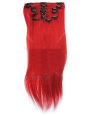Clip-In-Extensions für komplette Haarverlängerung - hochwertiges Remy-Echthaar - 100 g - 45 cm - Intensiv Rot